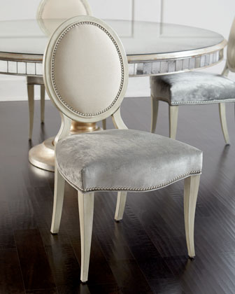 Gwyneth Dining Chair & Lisandra Antiqued-Mirrored Round Table