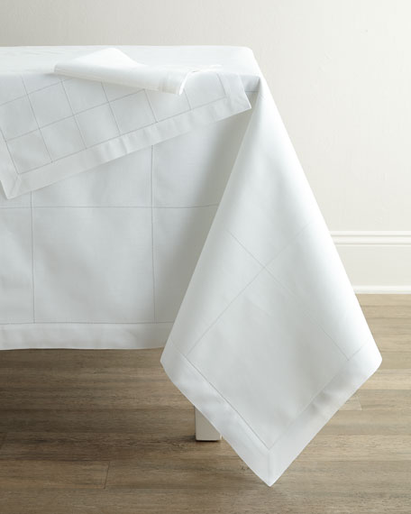 "Block Hemstitch Tablecloth, 90"" Round"