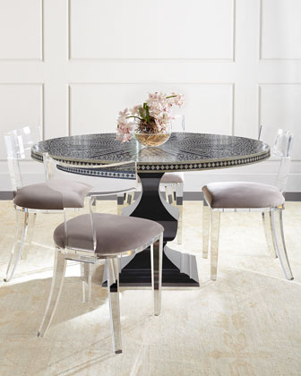 Vivian Inlay Dining Table U0026 Nessy Acrylic Dining Chair Quick Look. Bernhardt