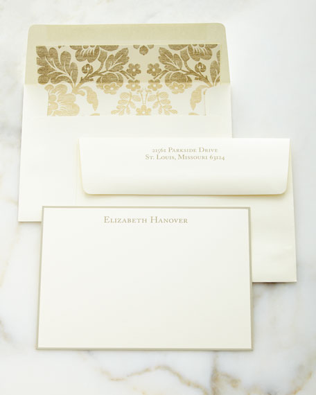 Correspondence Cards Hand Bordered in Taupe With Personalized Envelopes