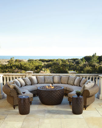 Hemingway Outdoor Visions Crescent Wedges, Accent Table, Gas Firepit, & Accessories