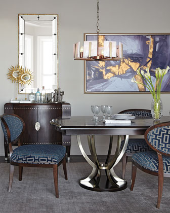 Shadowbox Dining Chair & Lambert Double-Pedestal Dining Table