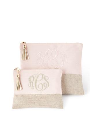 Pink Linen Pouches