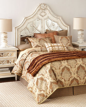 Lynley Mirrored Headboard & Nightstand
