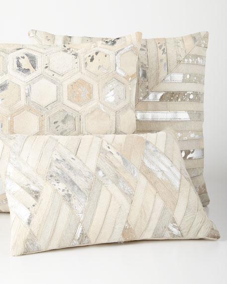 Silver Chevron-Patch Cowhide Pillow