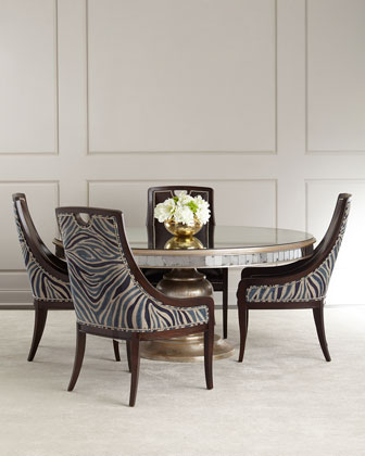 Markham Leather Dining Chair & Lisandra Antiqed-Mirrored Round Dining Table
