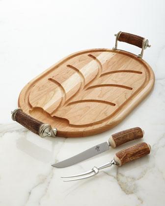 Antler Handle Carving Board & Carving Set