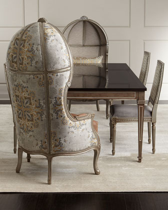 Kanella Balloon Chair, Avalon Dining Chair, & Manchester Dining Table