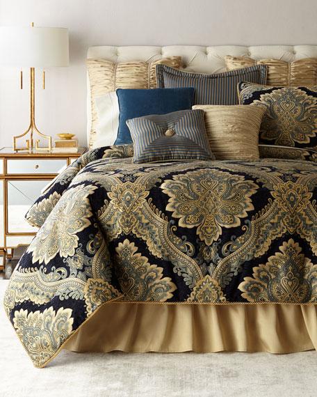 Queen Navy Chenille 3-Piece Comforter Set