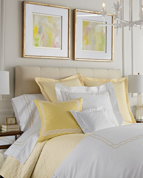 Two Standard 406 Thread Count Embroidered Percale Pillowcases