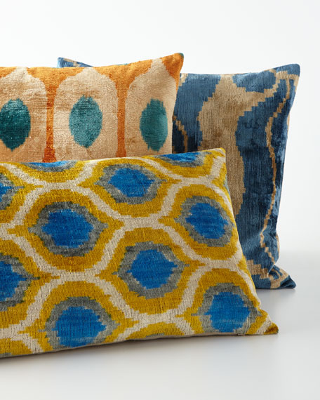 "Blue/Yellow Silk Velvet Pillow, 24"" x 16"""
