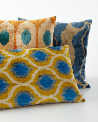 blueyellow silk velvet pillow 24