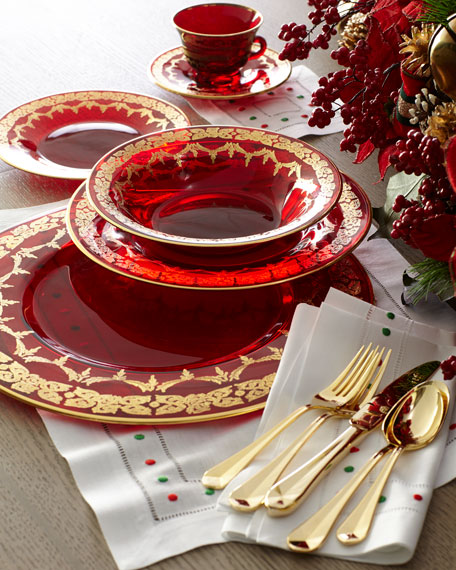Red Oro Bello Dinner Plate, Set of 4