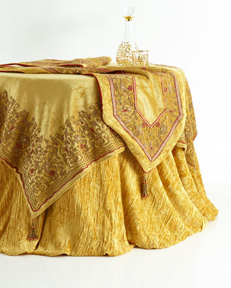 Red & Gold Beaded Velvet Table Linens