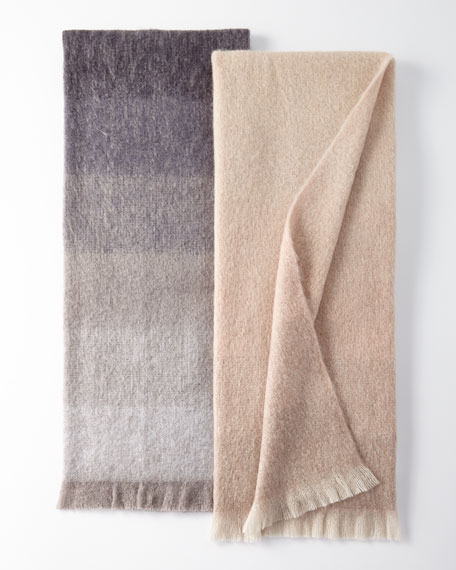 Dip Dyed Mohair Throw Blanket, Blush