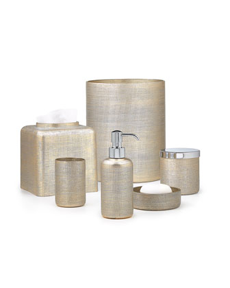 Woven Metallic Pump Dispenser with Golden Polished Top and Matching Items