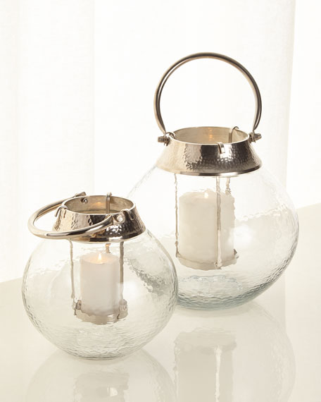 Large Clear Glass Candle Lantern