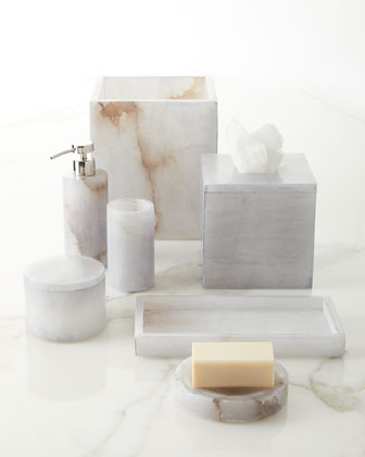 Grey Alabaster Bath Accessory Tumbler and Matching Items