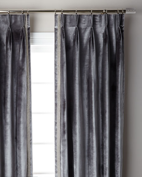 Graphite Pave 3-Fold Pinch Pleat Curtain Panel, 108""