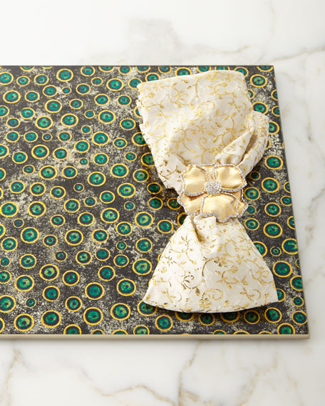Floral Textured Napkin, Gold
