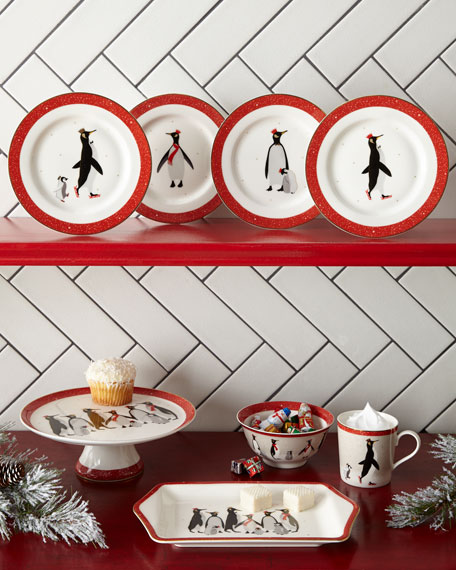 Sara Miller Red Penguin Holiday Mugs, Set of 4