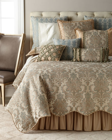 Gianna Scalloped Damask King Duvet