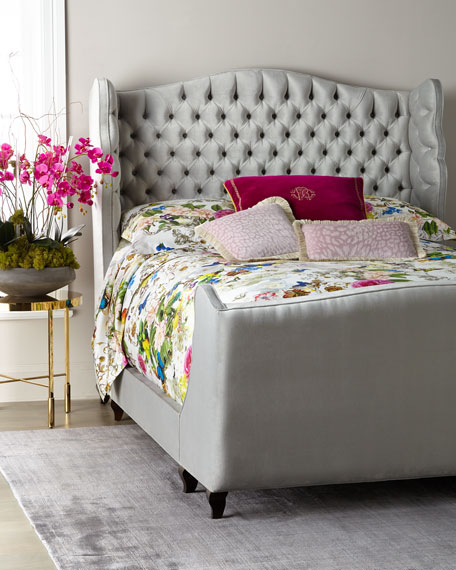 Beau Tufted Wing Back King Bed