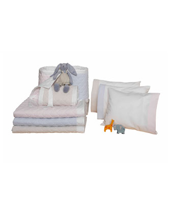 Baby Seersucker Crib Coverlet  White/Blue  and Matching Items