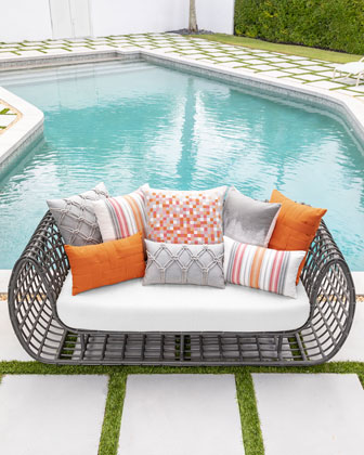 Basketweave Lumbar Sunbrella Pillow  Orange  and Matching Items