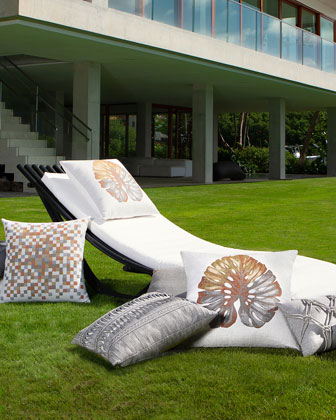 Metallic Leaf Sunbrella Pillow  and Matching Items