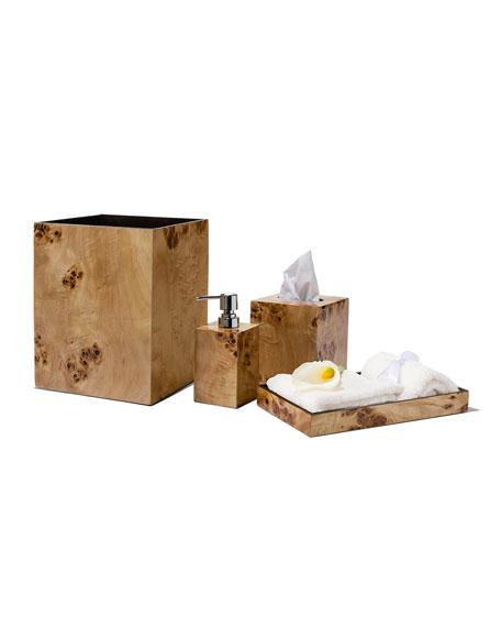 Burl Veneer Wastebasket