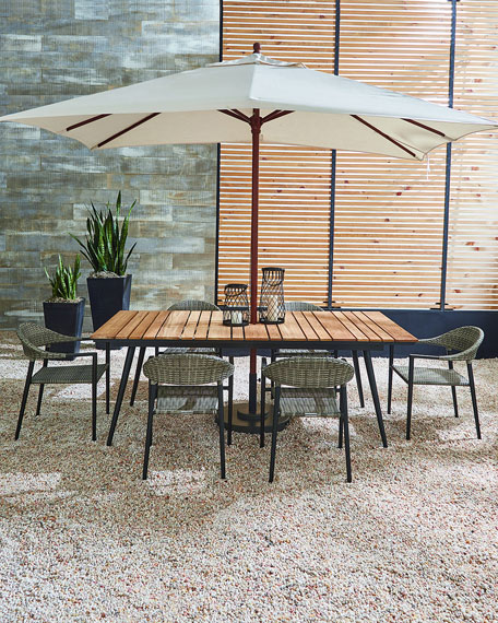 Outdoor Rectangular Dining Table with Teak Top
