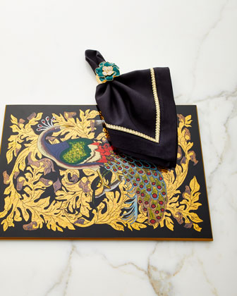Golden Leaf Peacock Glass Placemat  and Matching Items