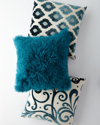 Teal Tibetan Lamb Pillow and Matching Items