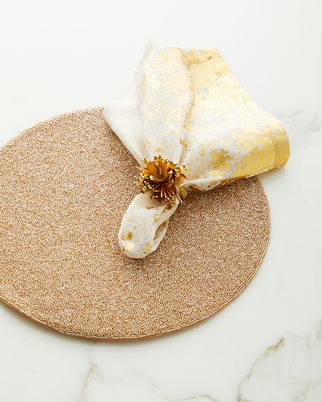 Metafoil Napkin, White/Gold