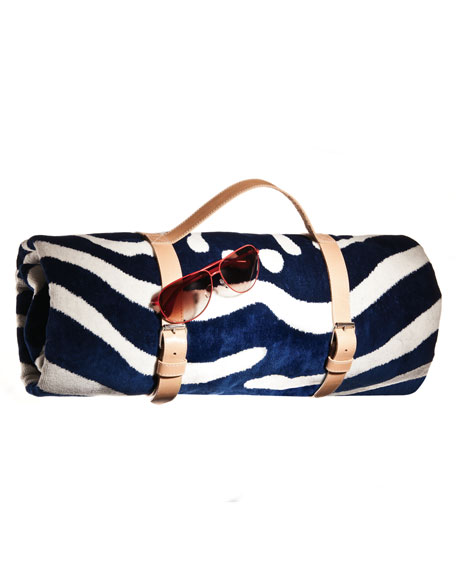 Navy Zebra Beach Towel