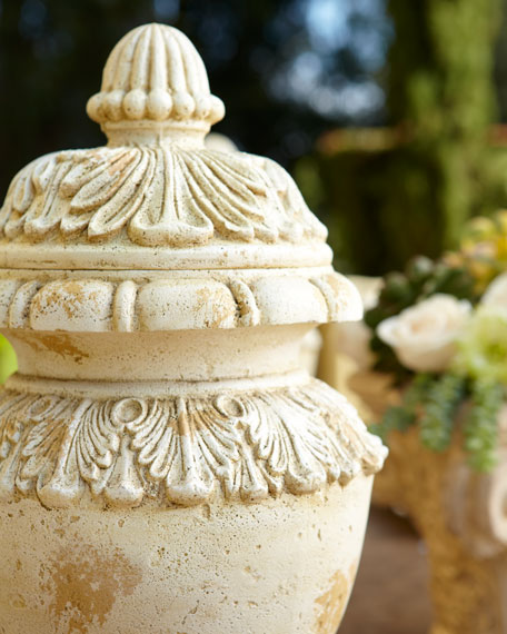 Lidded Stone-Cast Urn