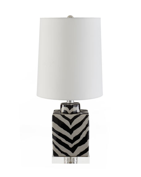 Zebra-Striped Mini Lamp