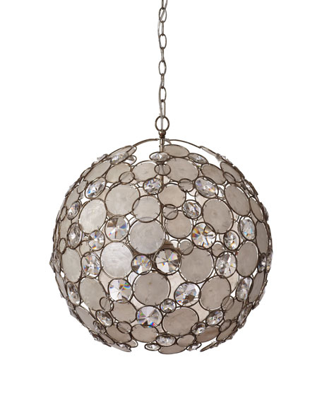 Antiqued Silver-Leaf Pendant Light