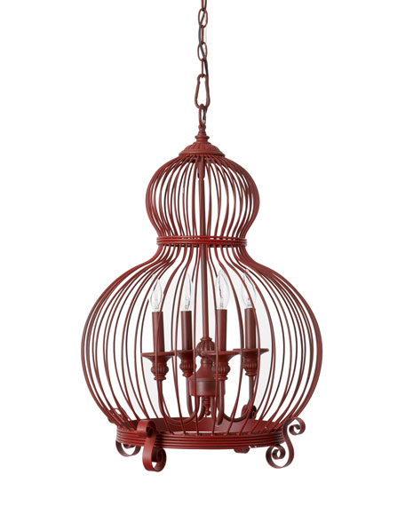 "Red ""Birdcage"" Pendant Light"