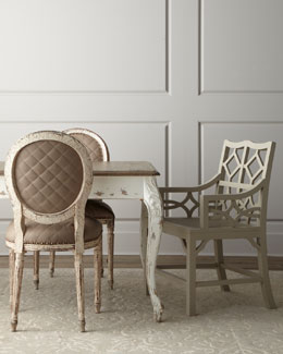 "Old Hickory Tannery ""Kendall"" Dining Table and ""Limestone"" and ""Abrille"" Chairs"