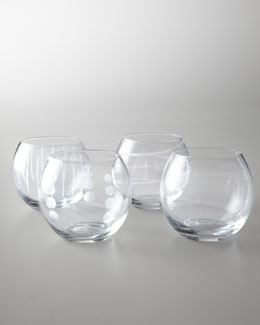 "Four ""Cheers"" Stemless Wine Glasses"