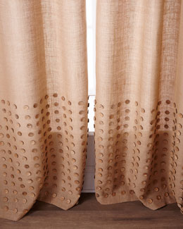 "Each 96""L Button-Detailed Burlap Curtain"