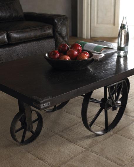 Wagon Wheel Coffee Table - Wheelbarrow coffee table