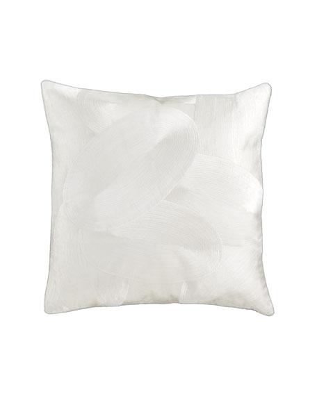 "Modern Classics Spiral Silk 18""Sq. Pillow, White Gold"