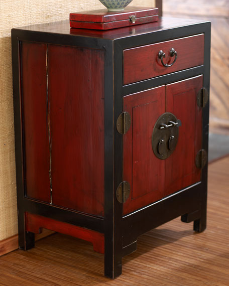- Antique Red & Black Side Cabinet