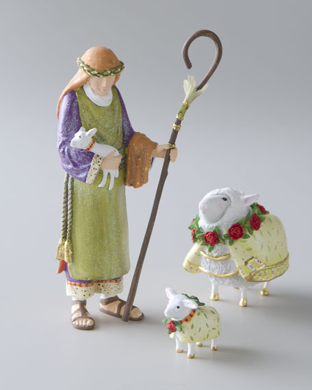 Shepherd, Lamb, & Ewe Nativity Figures