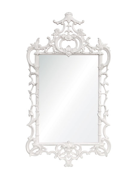 "White Lacquered ""Chippendale"" Mirror"