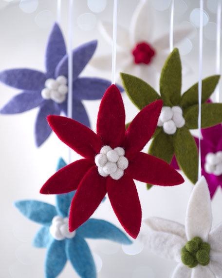 """Artisan"" Poinsettia Clip Christmas Ornaments"
