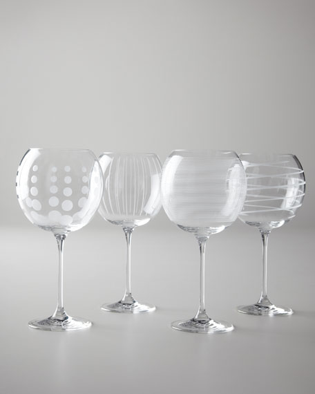 "Four ""Cheers"" Stemmed Wine Glasses"